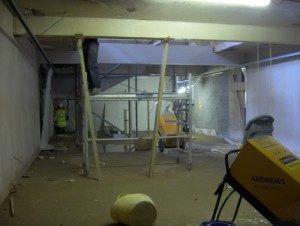 Ceiling supported whilst works carried out