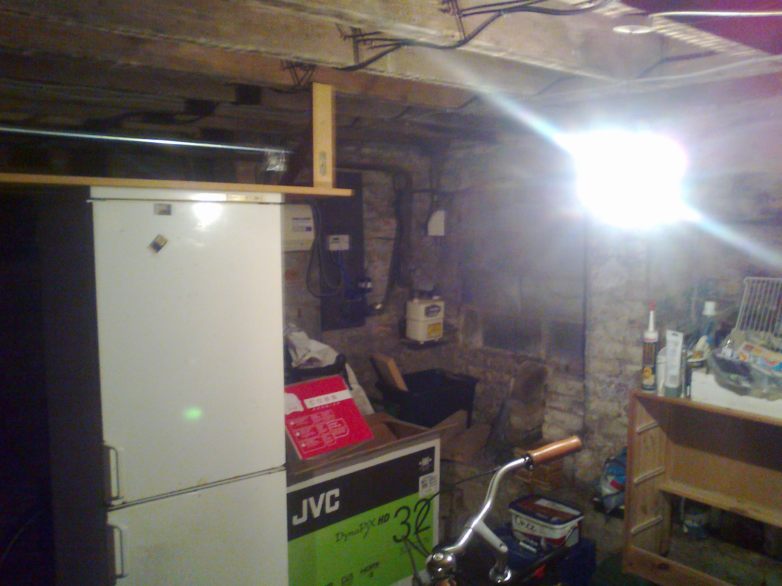 Damp and cluttered basement