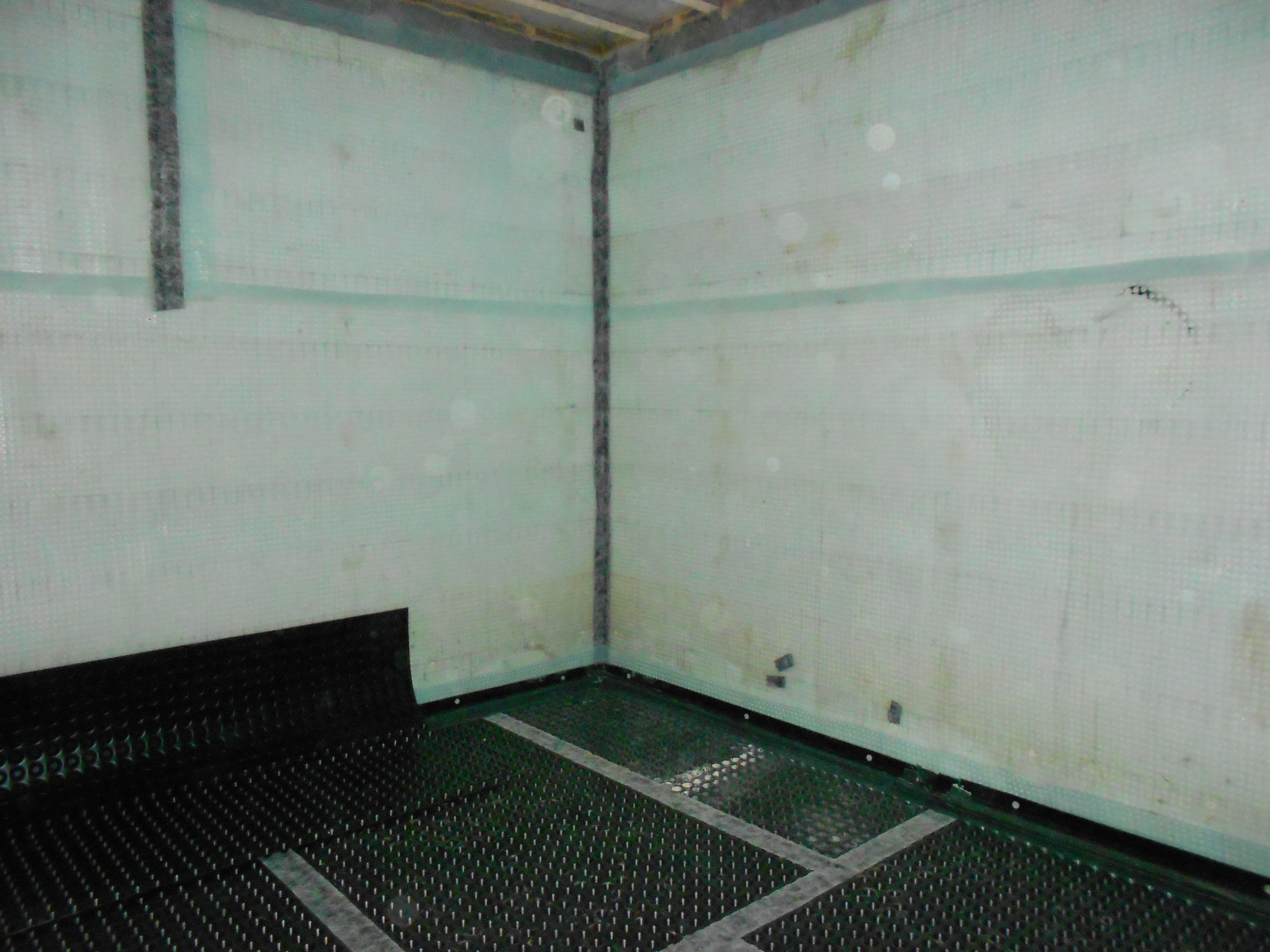 Wall and floor membraned and taped