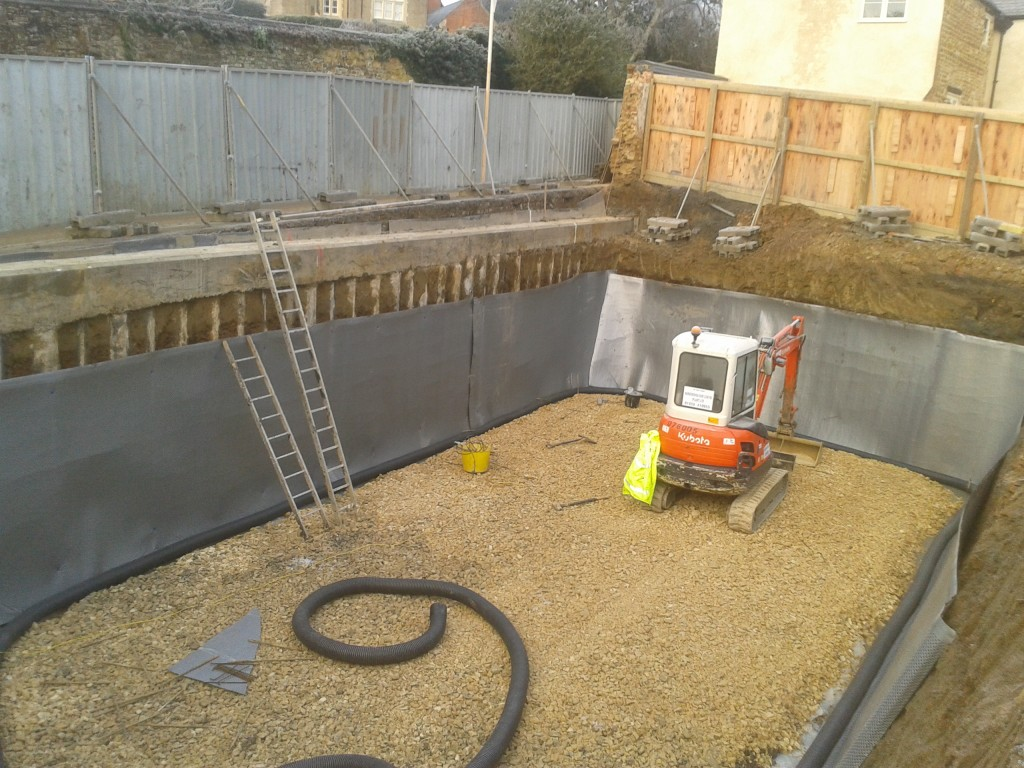 Permanent land drain installed and linked to external sump dewatering site