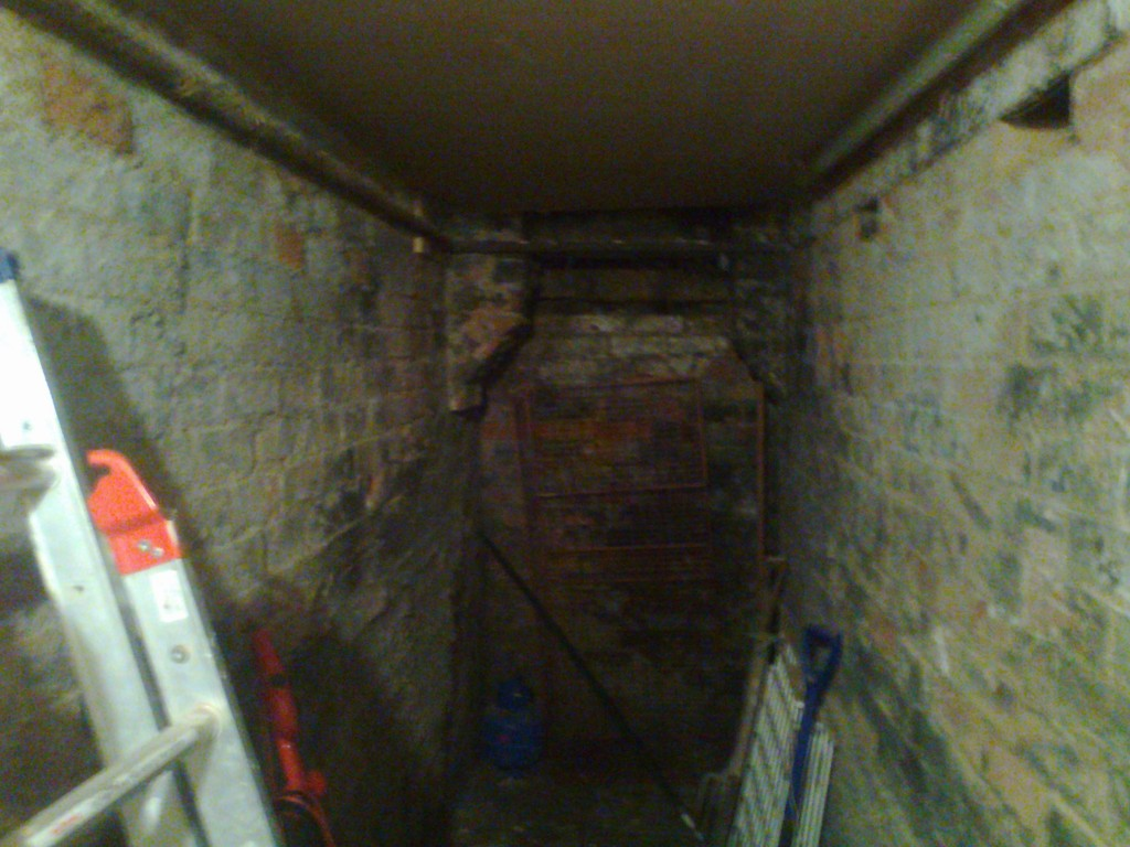 Dark and damp basement used for storage