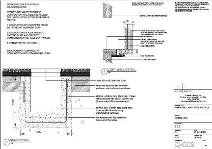 Plans for sump & light well reinforcement