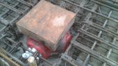 Internal ground water sump reinforced with steel to reduce cracking