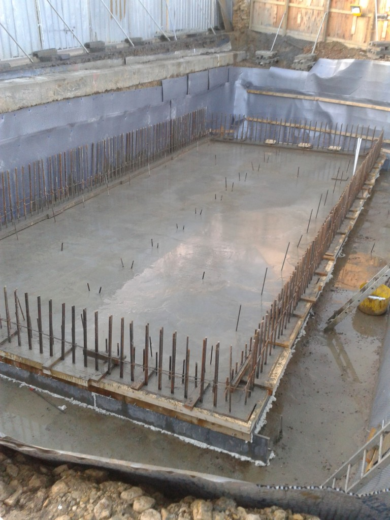 Basement slab cast in concrete