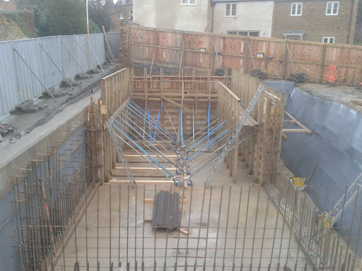 Walls fully supported and scaffold built for working space