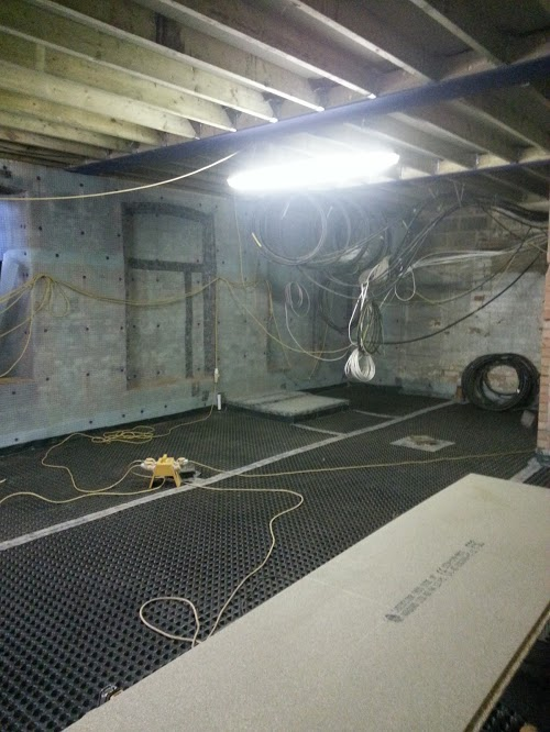 Floor lined with membrane throughout