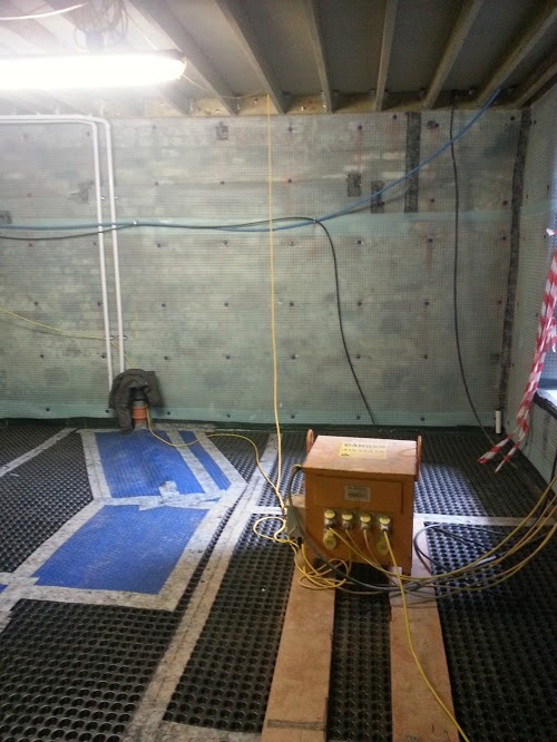 Uneven floors made waterproofing a challenge in some places