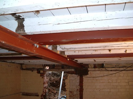 Steel joists installed to support the ceiling