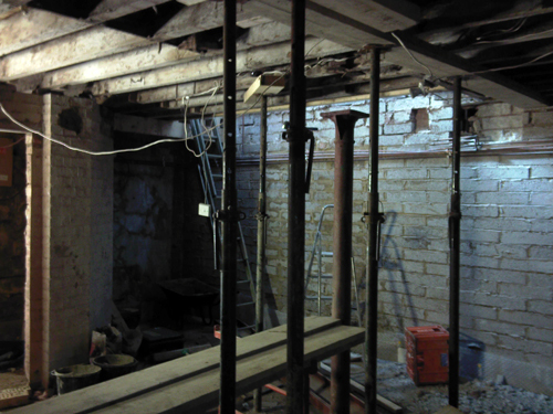 Ground floor joists supported during works