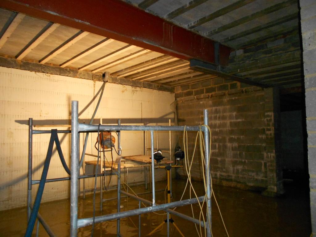 No internal sump nor waterproofing method installed