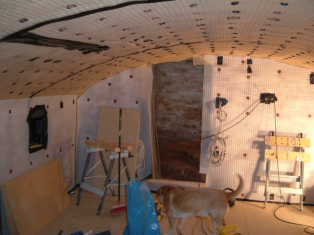 Walls and ceiling lined with cavity drainage membrane