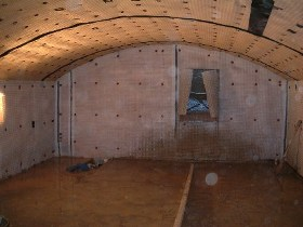 All walls & ceiling lined with cavity drainage membrane