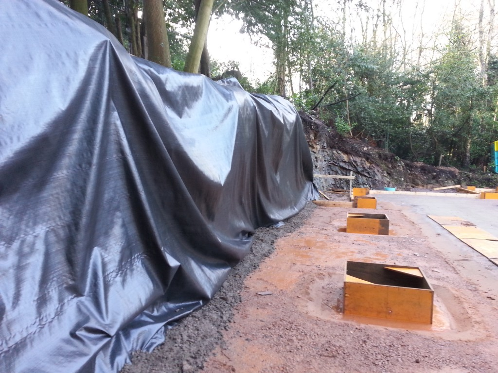 Geo-textile membrane laid over bank to allow better drainage