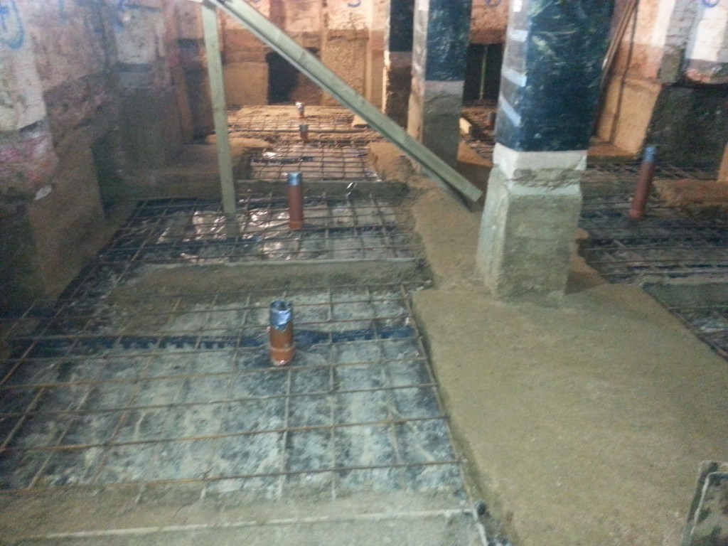 Remaining floor reinforced and cast in concrete