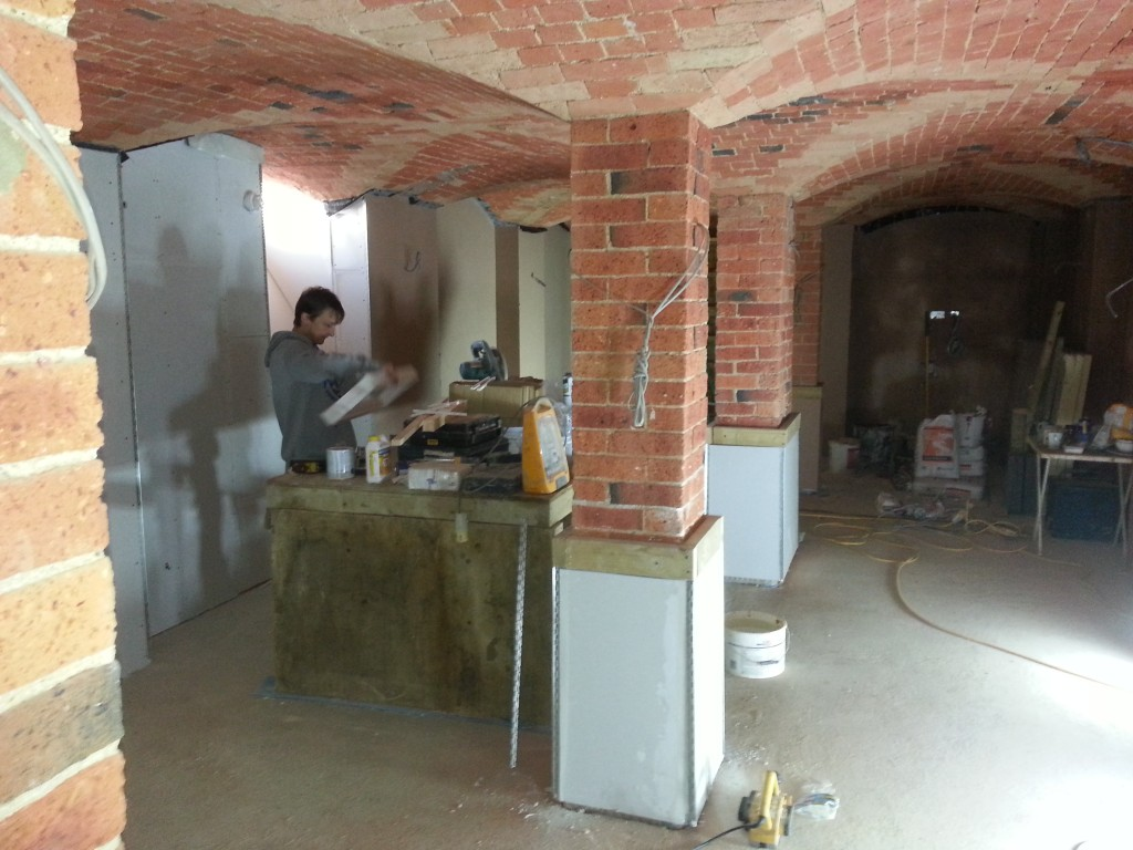 Central columns boxed ready for plaster