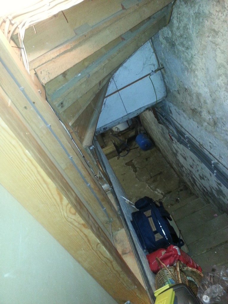 Stone staircase leading to damp basement