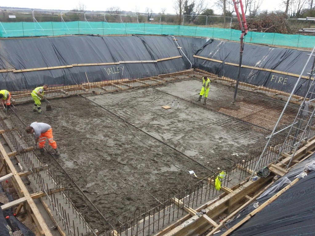 Main slab set out, shutterd, reinforced with steel and cast in concrete