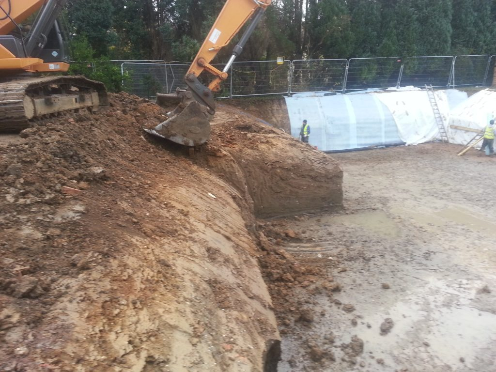 Excavation sides are angled at 45 degrees to prevent dangerous collapses