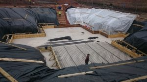 Steel being laid to reinforce the main slab