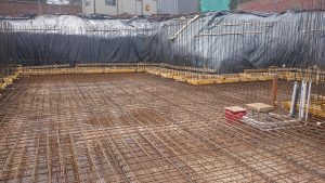 Pipe work and sumps set into the concrete base