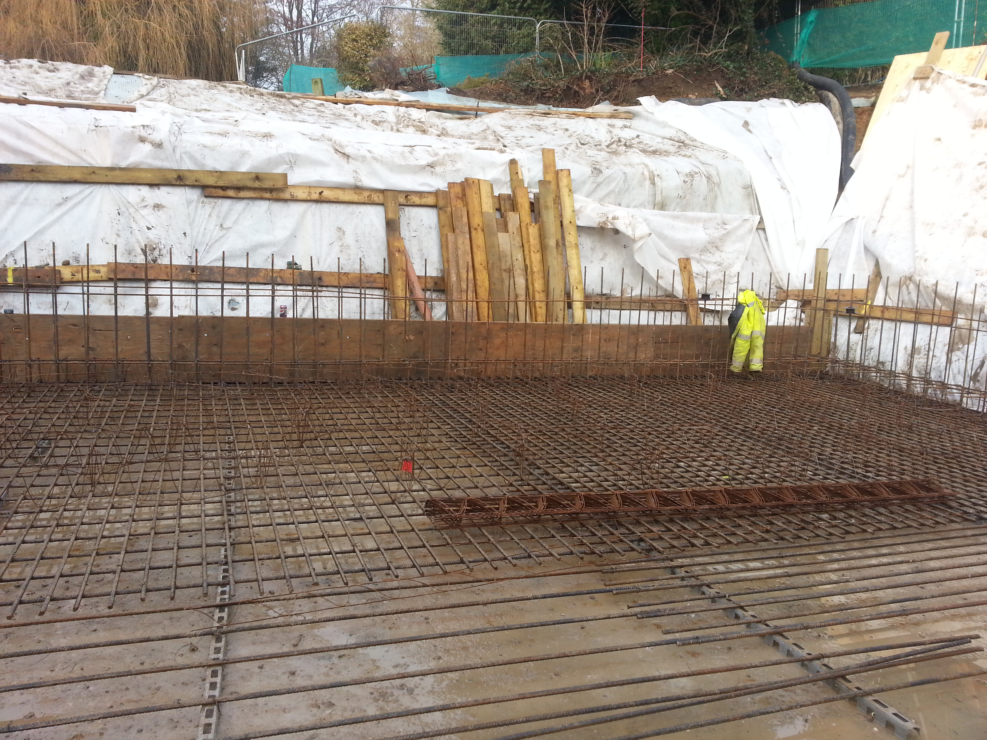 Reinforcing for the floor built up in layers to give maximum strength