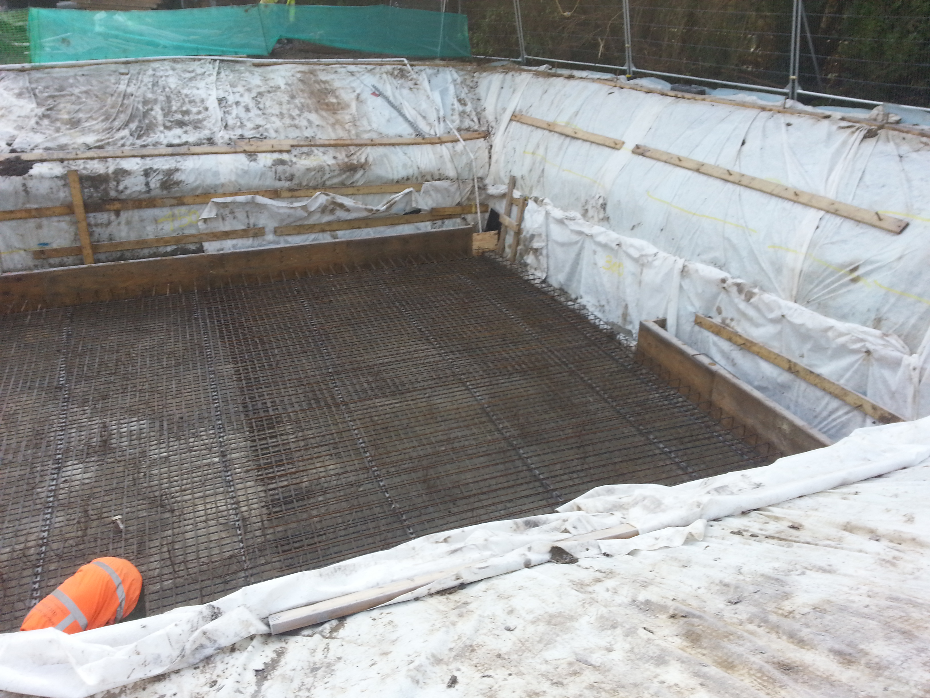 Two layers of steel are laid to give maximum strength to the concrete base