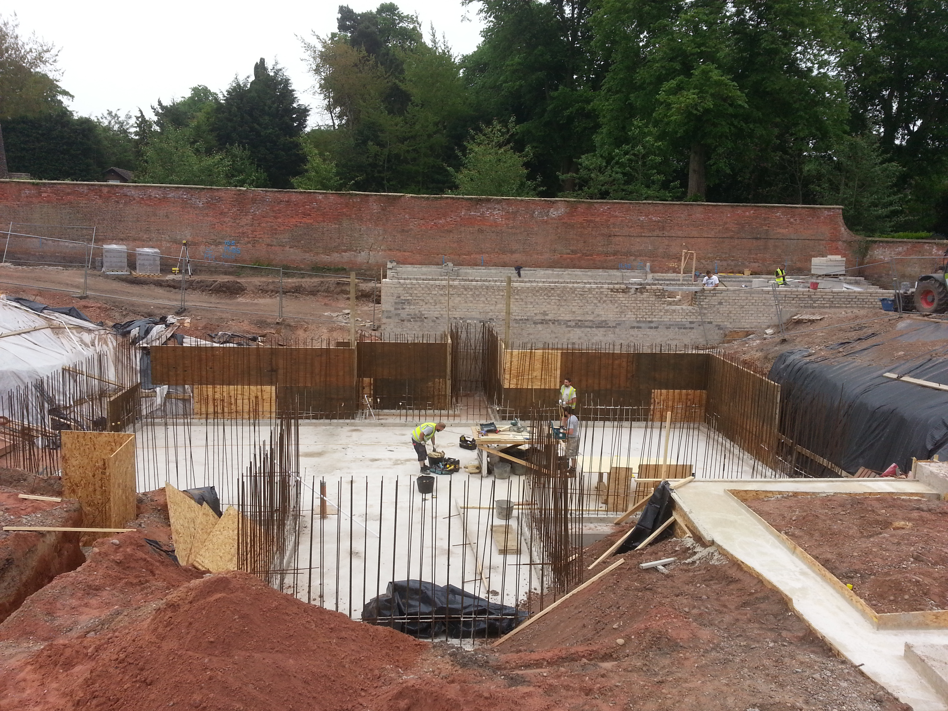 Foundations being created during basement construction
