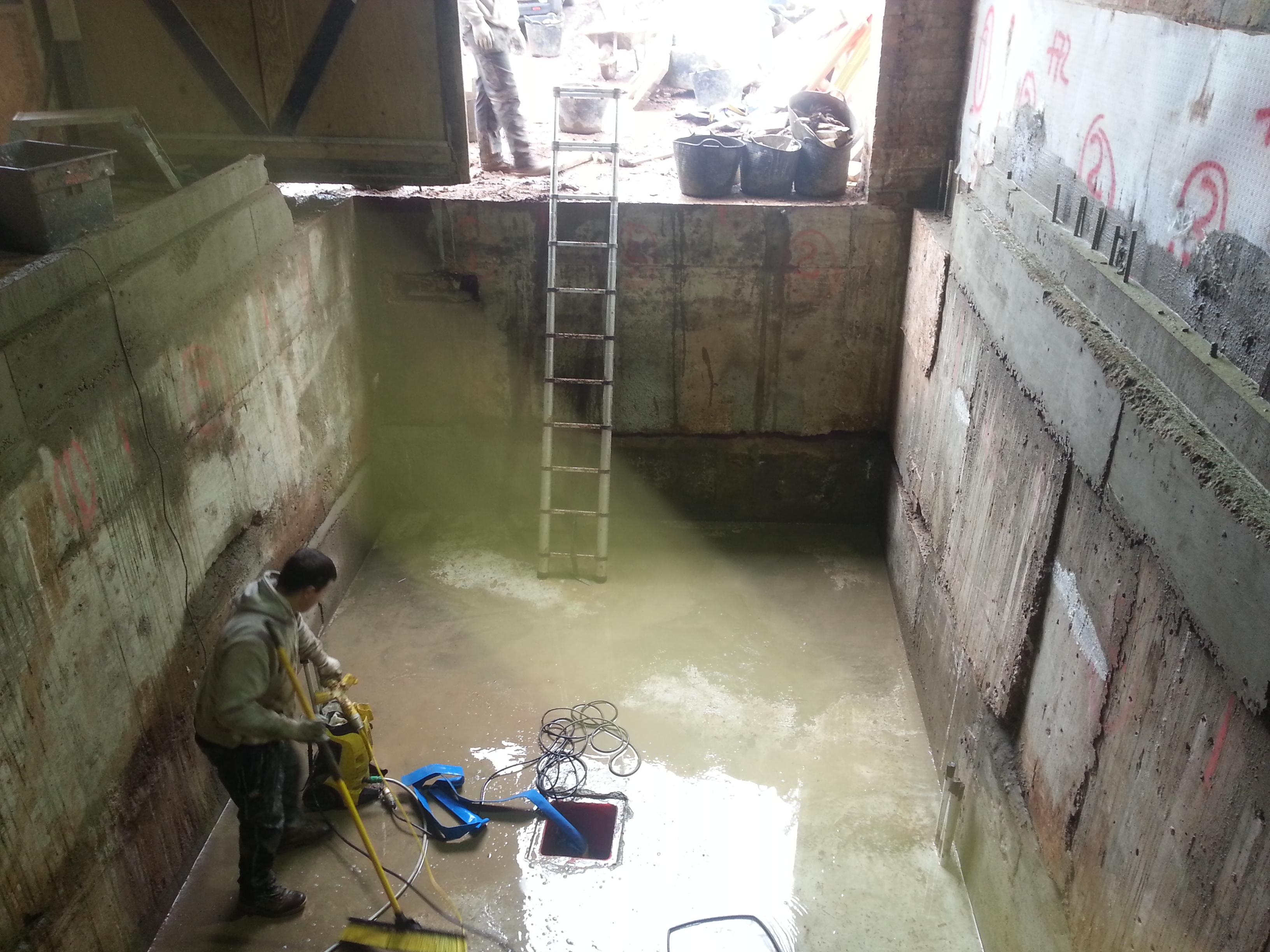 All concrete jet washed and cleaned to allow cementitious slurries to be applied