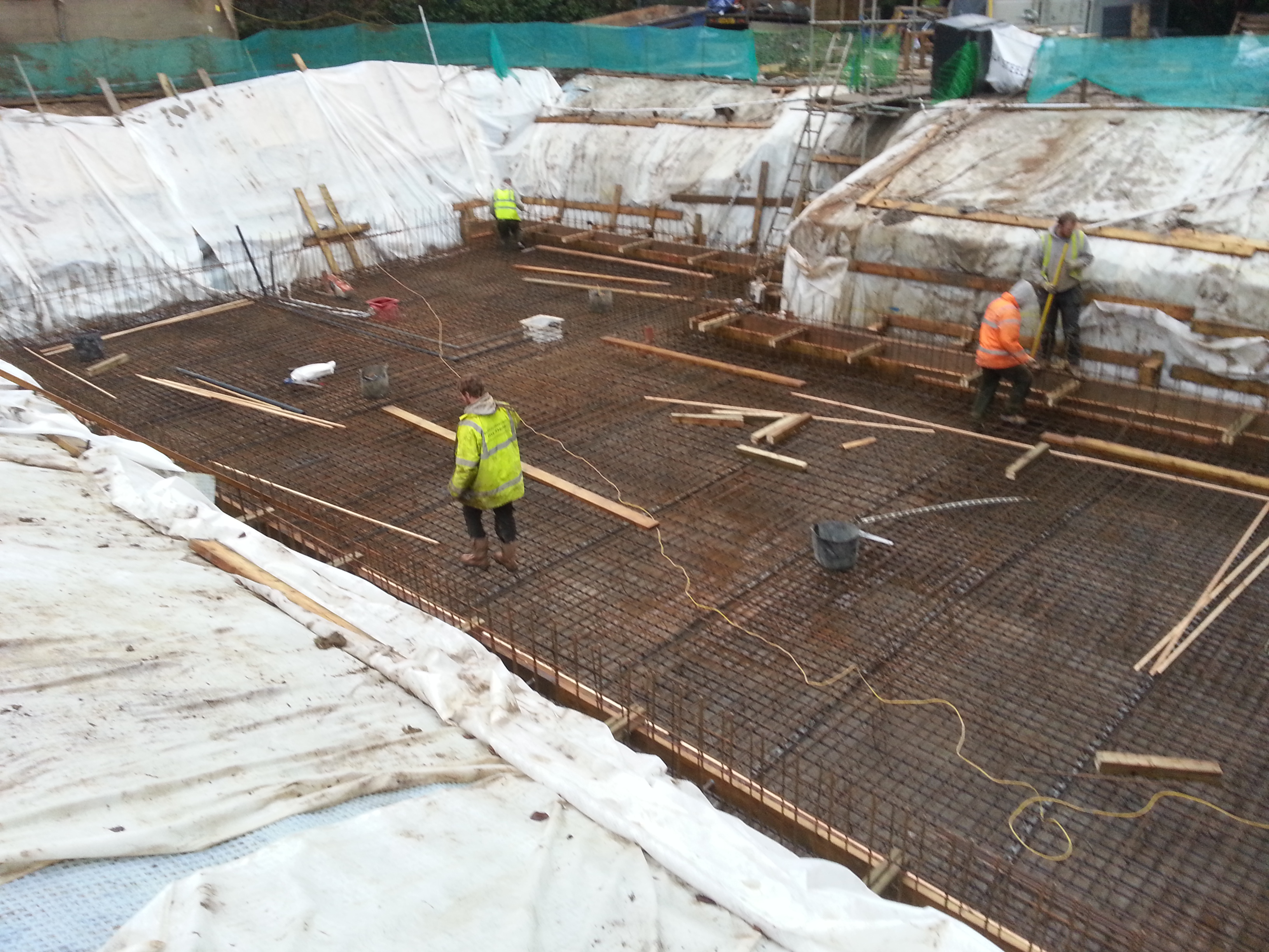 Reinforcing installed throughout the basement slab