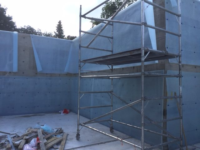 Walls to high for typical istallation, scaffold had to be used