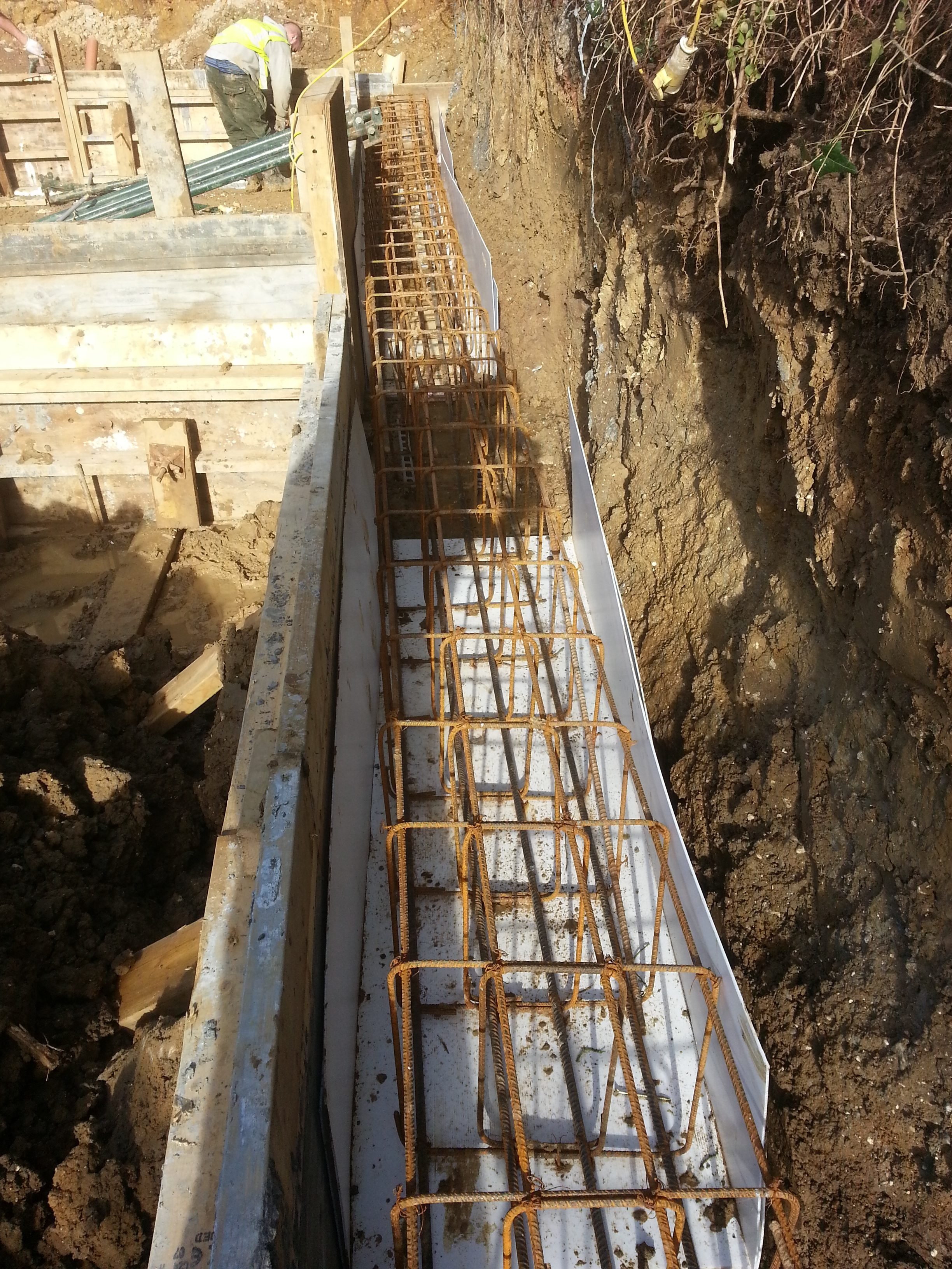 Foundations for the rest of the building joined to the basement walls