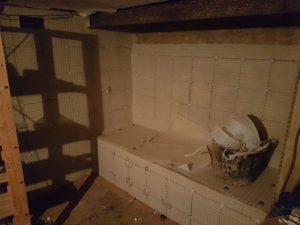 Cavity drainage membrane installed