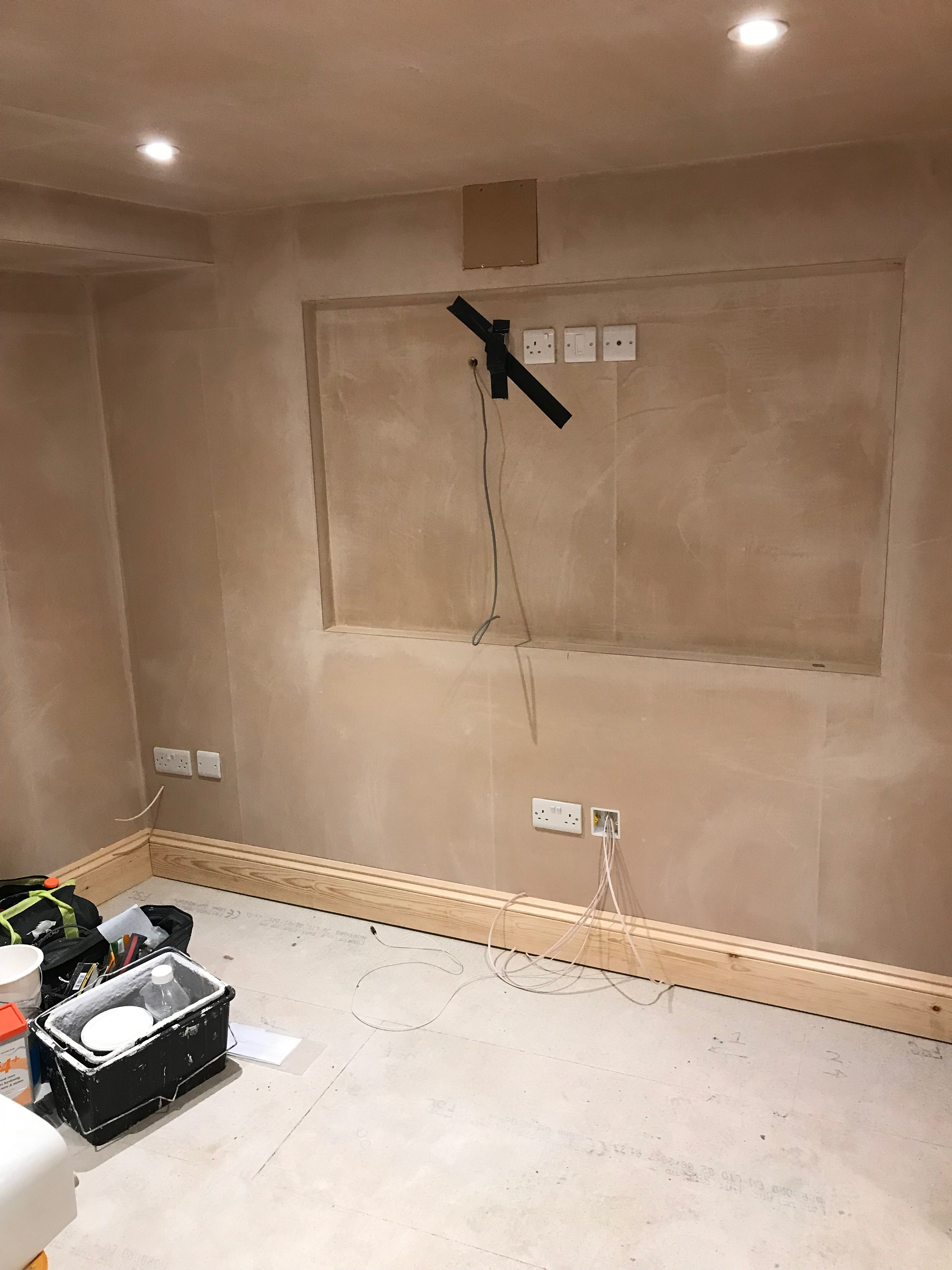 Electrical fit out for lighting, sockets and TV
