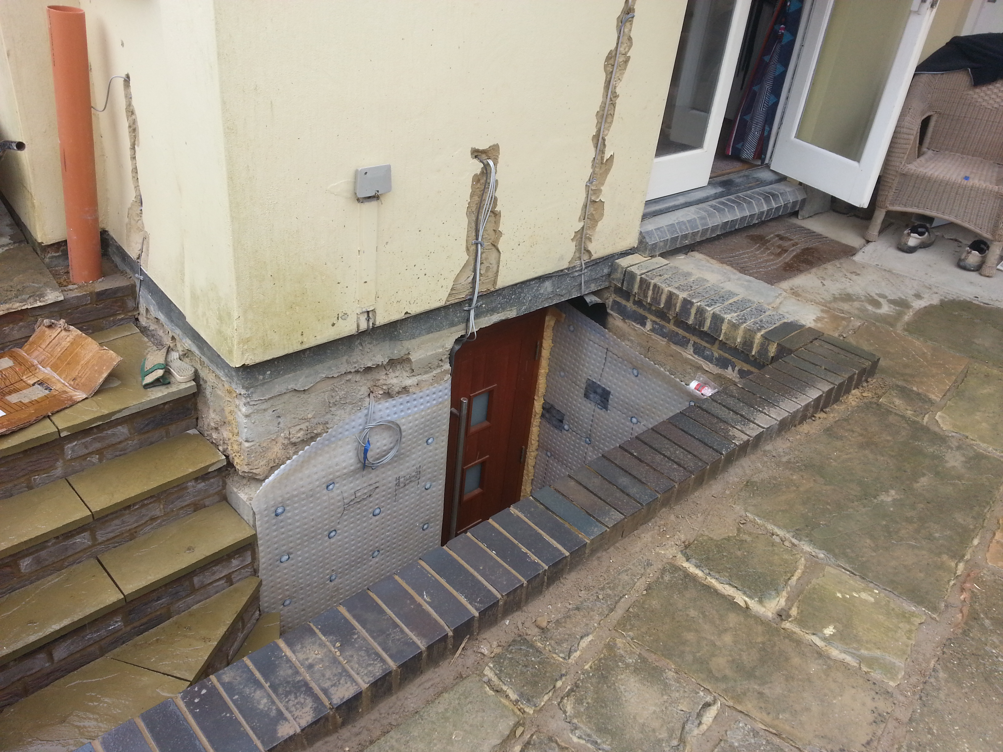 New stairwell with elecrical cabels re-routed