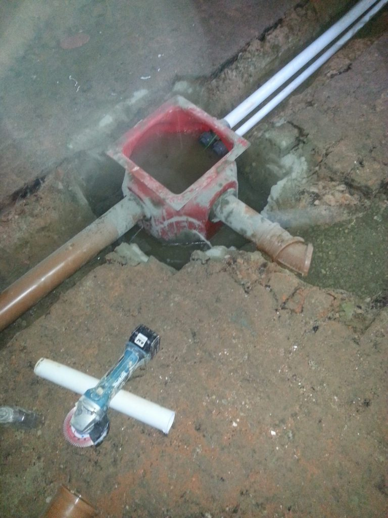 New sump being fed by underground drains