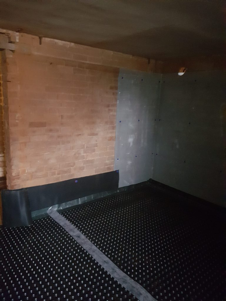 External and internal walls lapped and flooring membrane installed