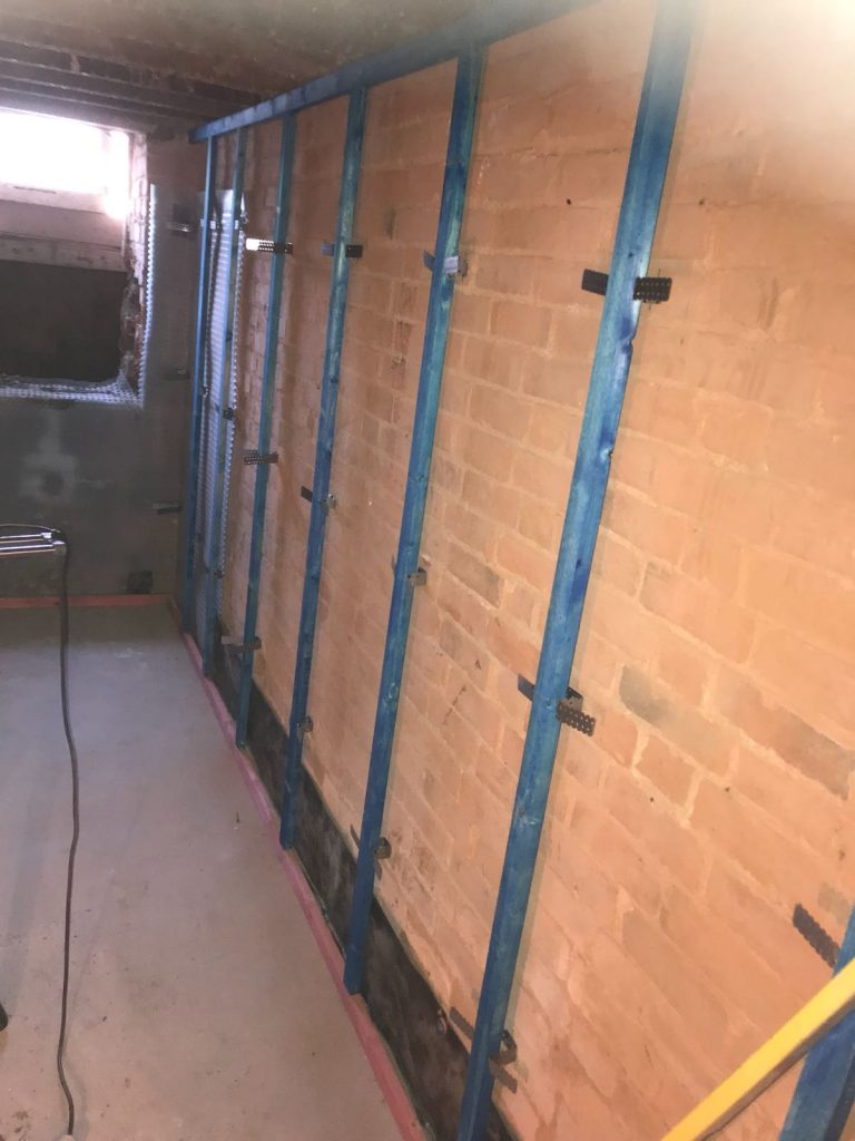 Dry lining battons ready for plasterboard