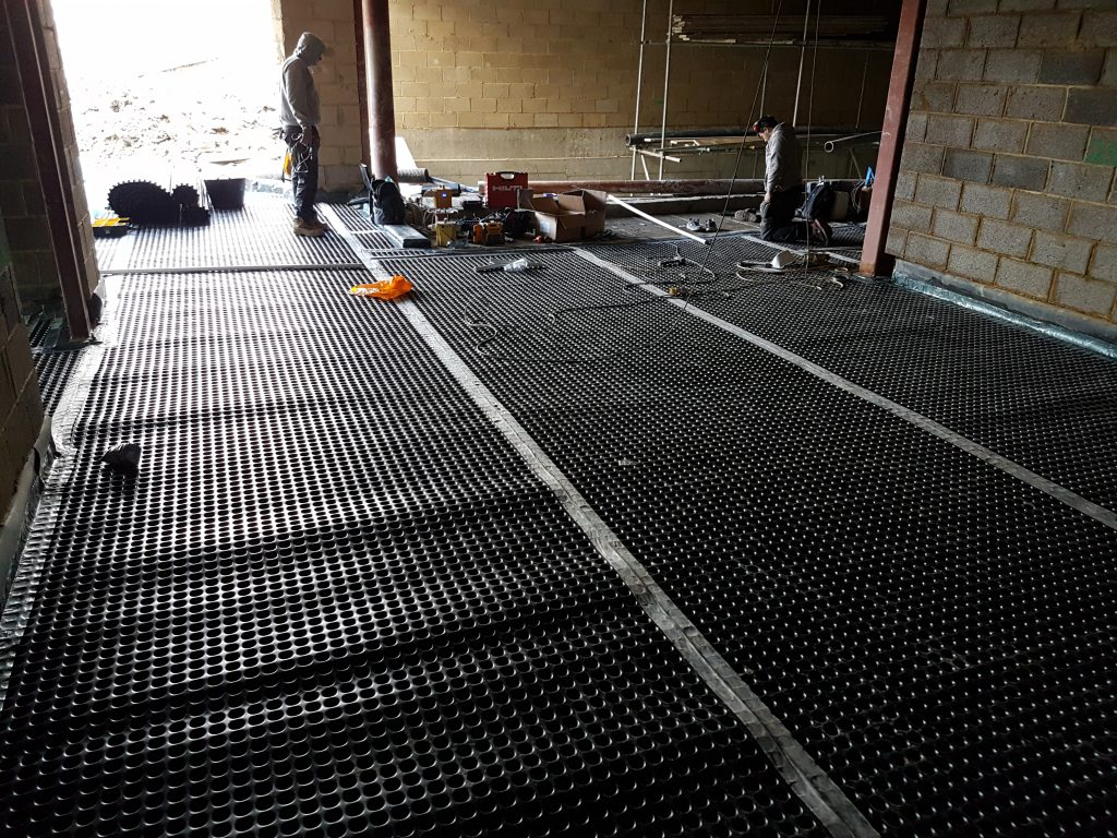 Flooring membrane taped and sealed