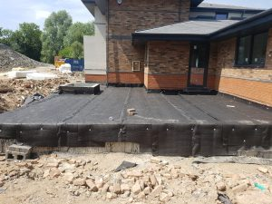 Protective drainage membrane the allows patio finishes to be installed without piercing the bitumen below