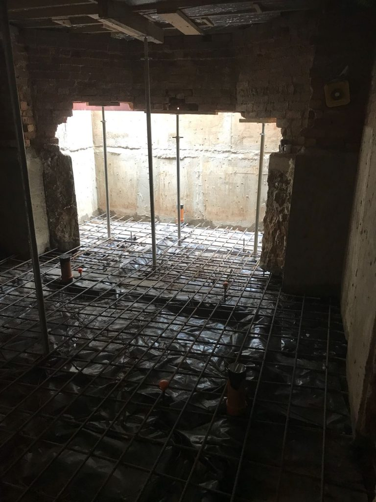 New window created to allow natural light, floor reinforced ready for concrete
