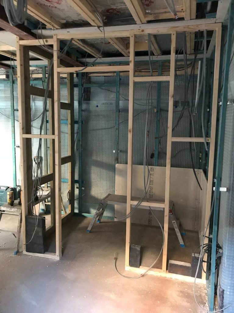 Internal walls, creating a bathroom area for the new self-contained apartment