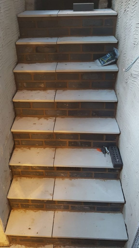 Tiled finish to new external stairs