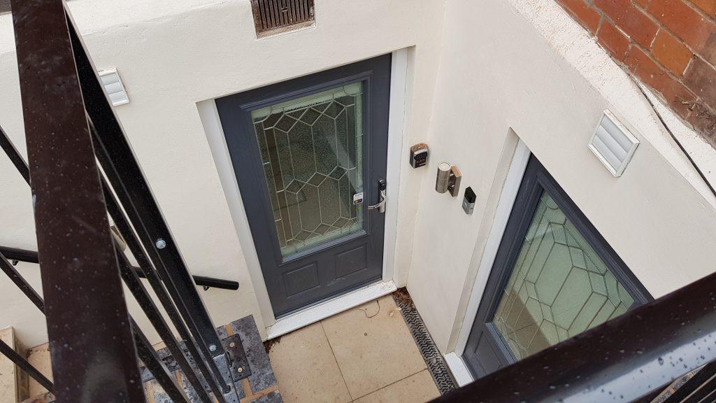 Two new doorways in external stairwell