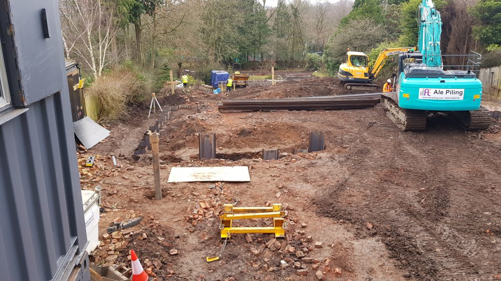 Perimeter of excavation formed in sheet piling