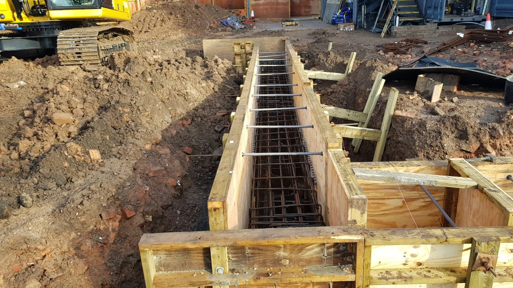 Ring beam shuttering ready for concrete