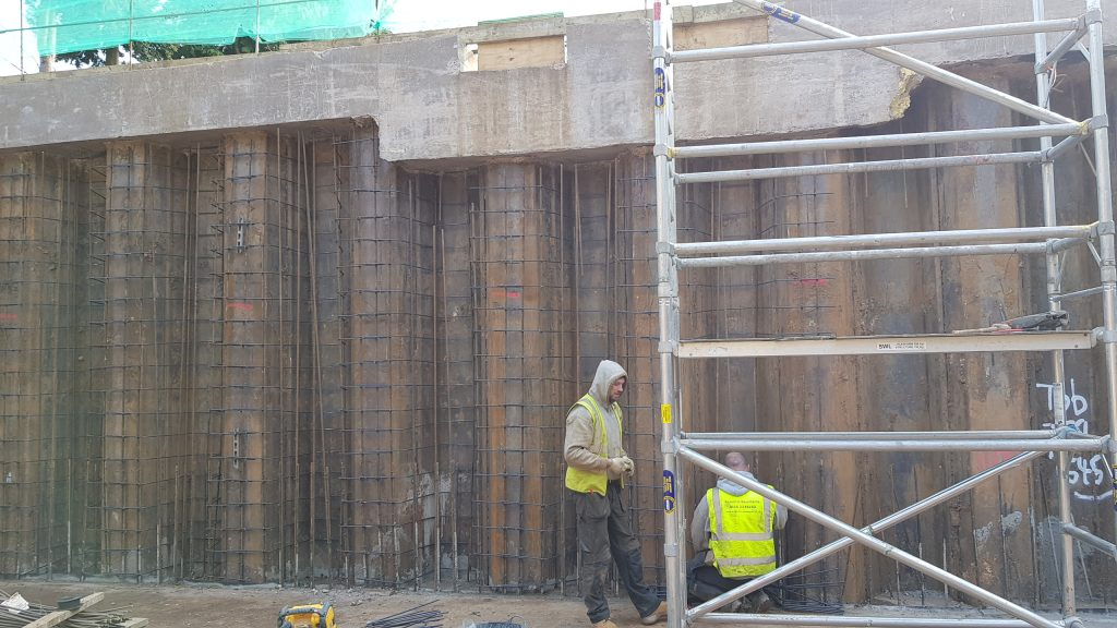 Wall reinforicing steel running from slab to the underside of the ground beam, almost 6m in places