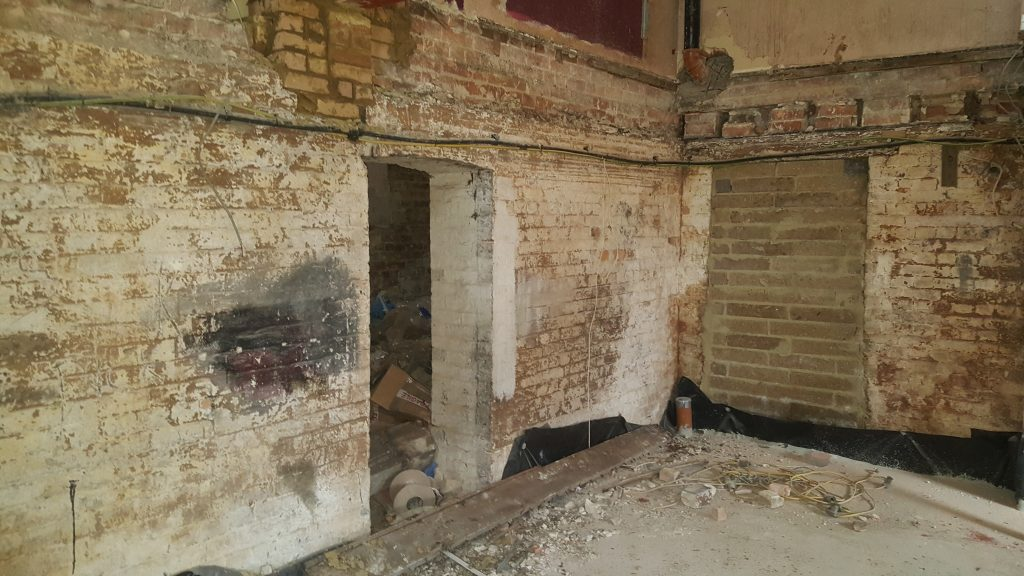 Old door way blocked off & ground floor timber joists removed