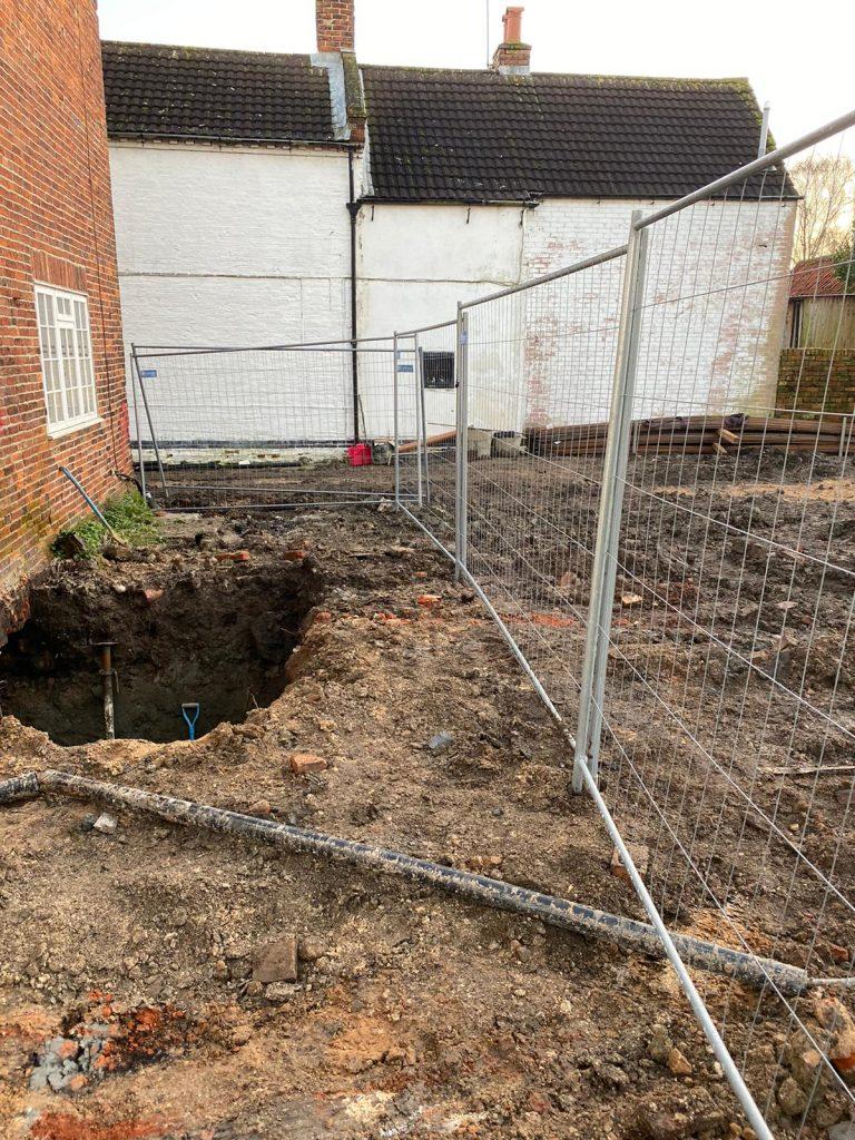 Excavation for underpins beginning