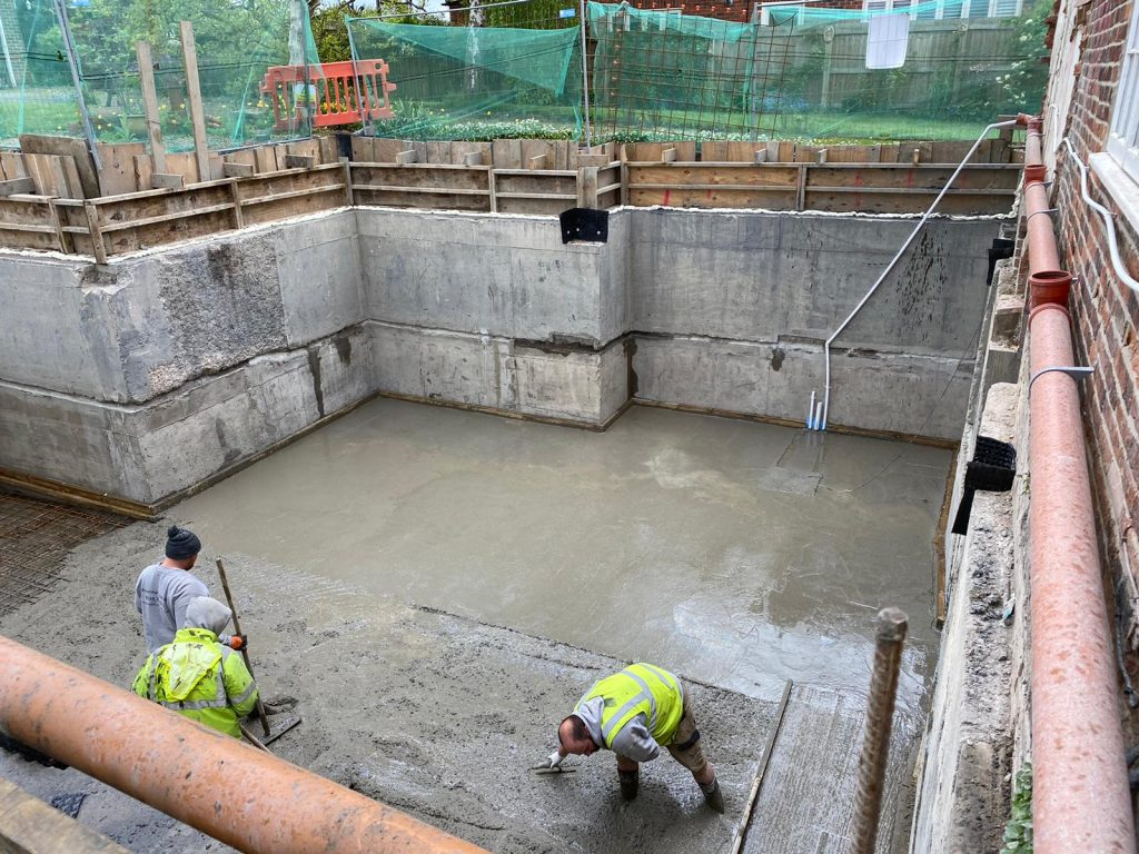 Final concrete slab laid to tie together walls and floor