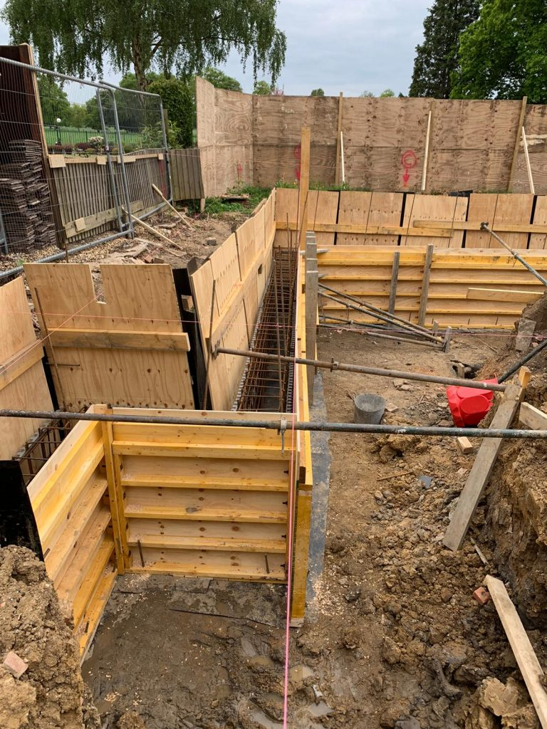 Ring-beam is created with shuttering ready for concrete to be poured
